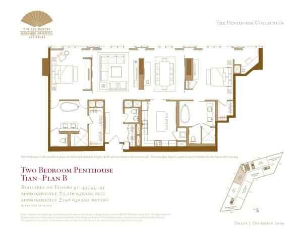 01 Tian - Floor Plan B - Two Bedroom Penthouse The Mandarin Oriental Las Vegas Condos for Sale