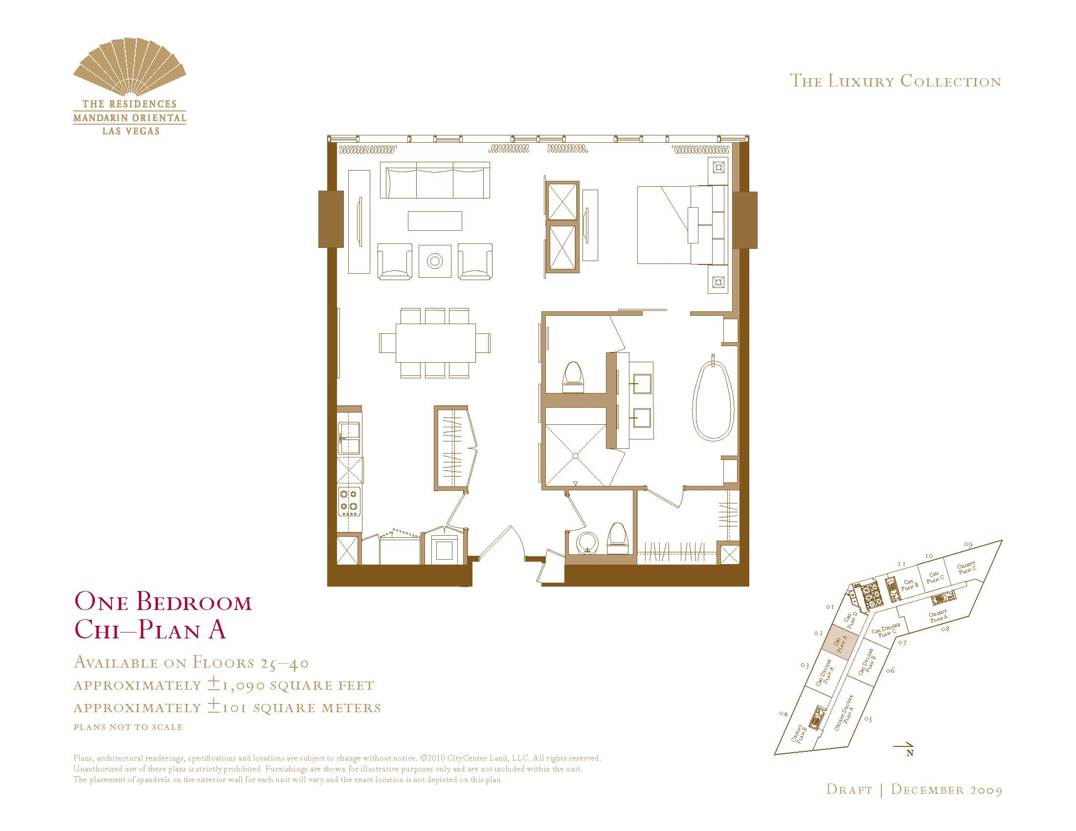The one bedroom residences at the mandarin oriental the for Las vegas home floor plans