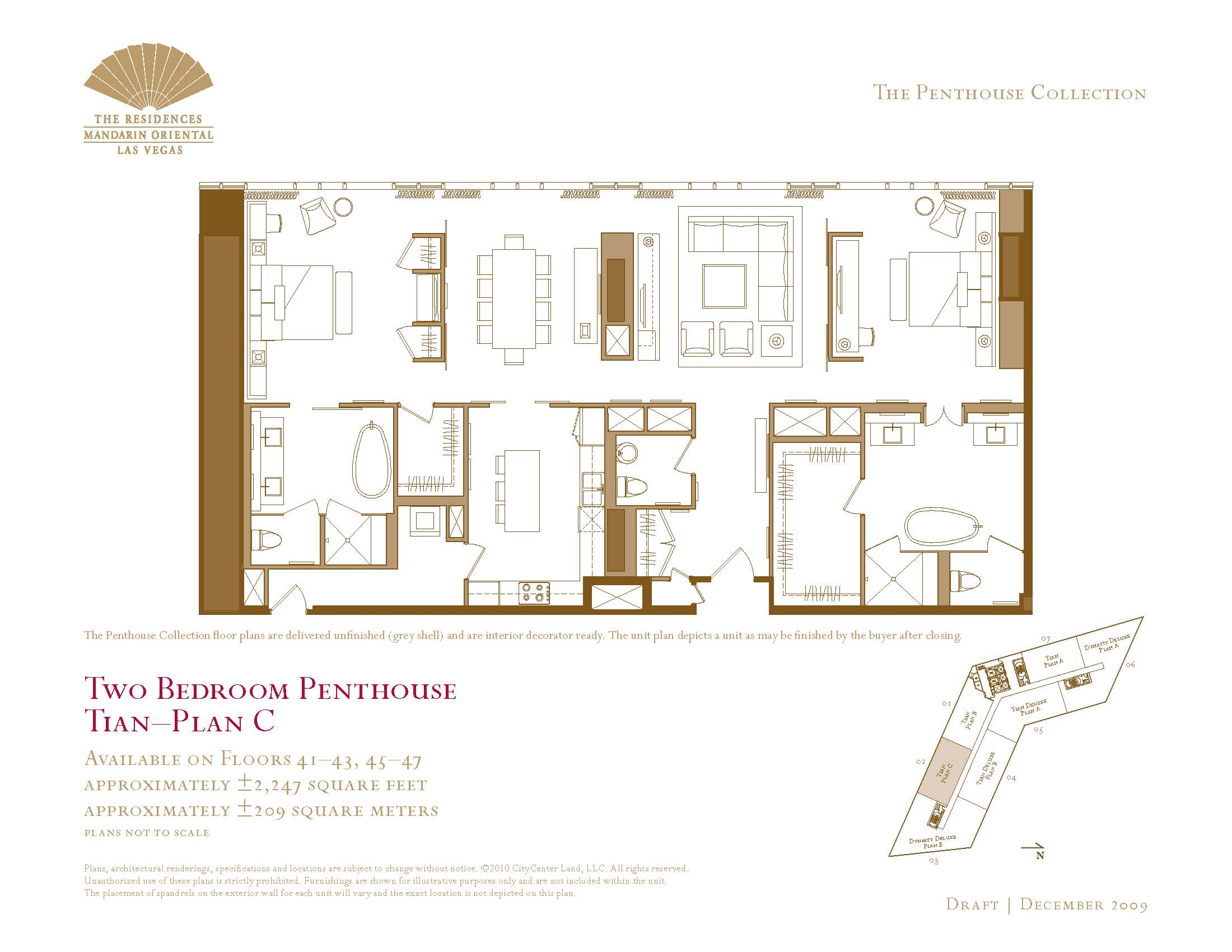 Two Bedroom Penthouse Floor Plans The Mandarin Oriental Las Vegas - Las vegas floor plans
