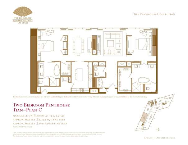02 Tian - Floor Plan C - Two Bedroom Penthouse The Mandarin Oriental Las Vegas Condos for Sale
