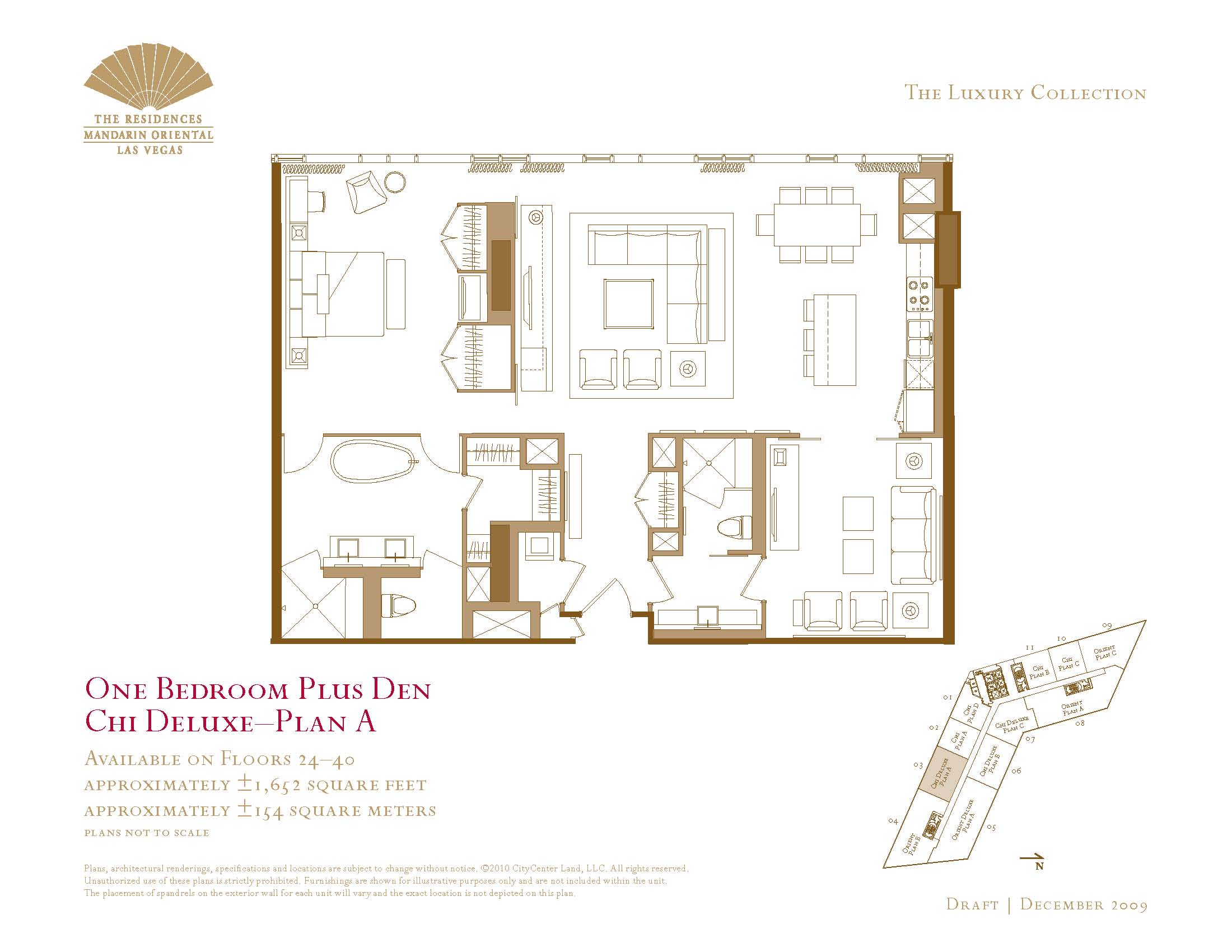 One bedroom plus den floor plans the mandarin oriental las for 1 bedroom condo floor plans