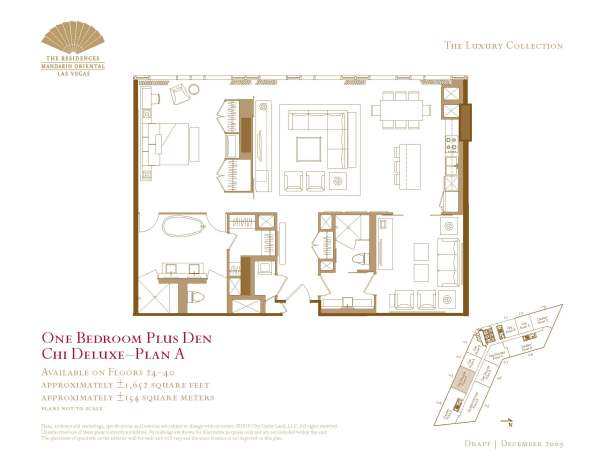 03 Chi Deluxe - Floor Plan A - One Bedroom Plus Den The Mandarin Oriental Las Vegas