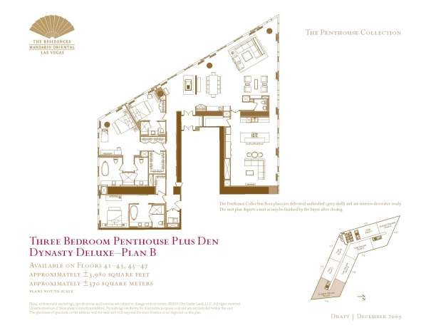 03 Dynasty Deluxe - Plan B - Three Bedroom Penthouse Plus Den The Mandarin Oriental Las Vegas Condos for Sale