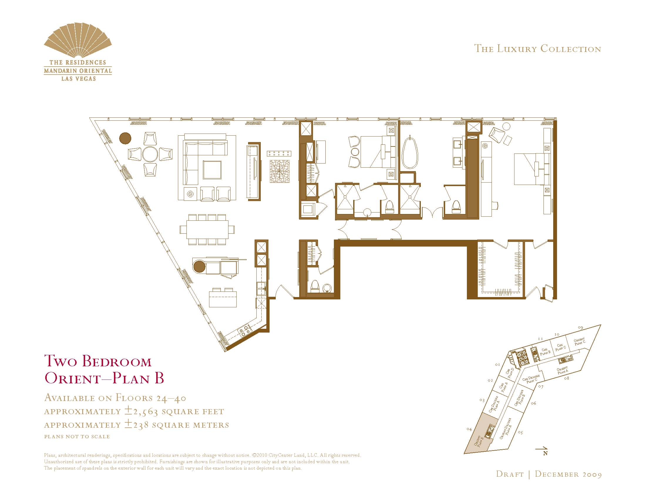 Two bedroom floor plans the mandarin oriental las vegas for Las vegas home floor plans