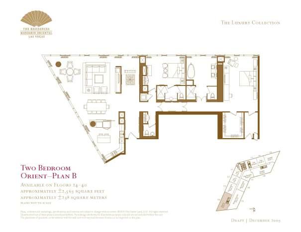 Two Bedroom Floor Plan - B - The Mandarin Oriental Las Vegas