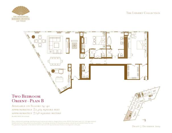 Two Bedroom Floor Plan - B - The Mandarin Oriental Las Vegas