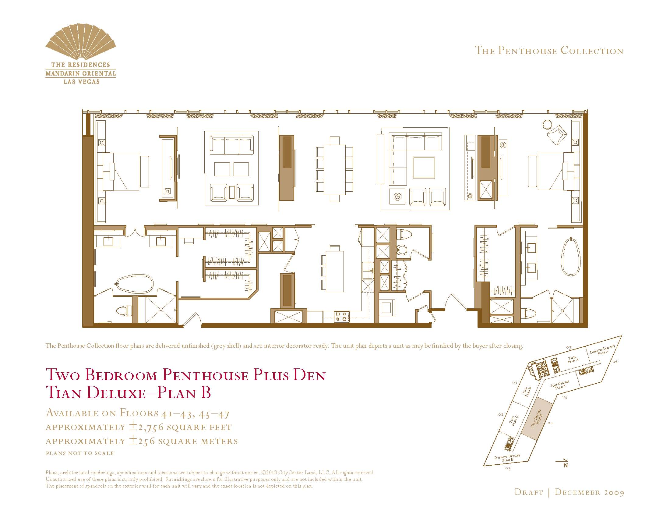 Two Bedroom Plus Den Penthouse Floor Plans The Mandarin Oriental Las Vegas Condos For Sale The