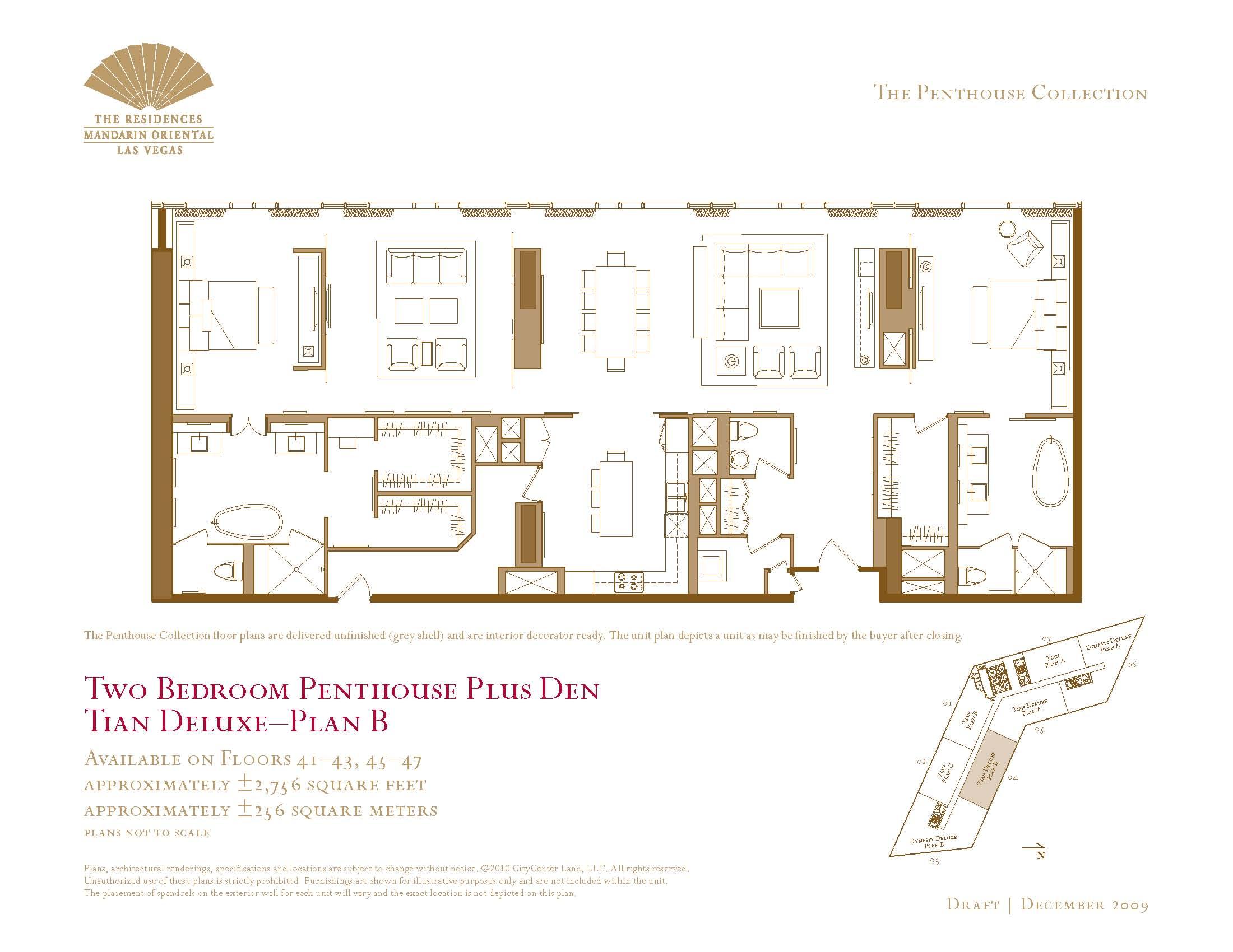 Two bedroom plus den penthouse floor plans the mandarin for Floor plans for sale