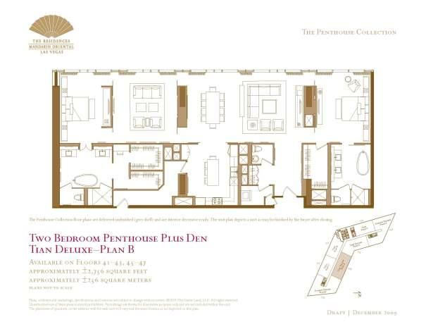 04 Tian Deluxe - Floor Plan B - Two Bedroom Plus Den The Mandarin Oriental Las Vegas Condos for Sale