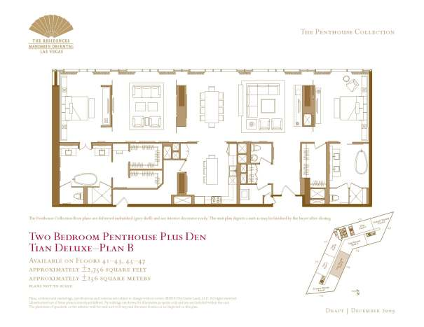 04 Tian Deluxe - Floor Plan B - Two Bedroom Plus Den The Mandarin Oriental Las Vegas Condos for Sale