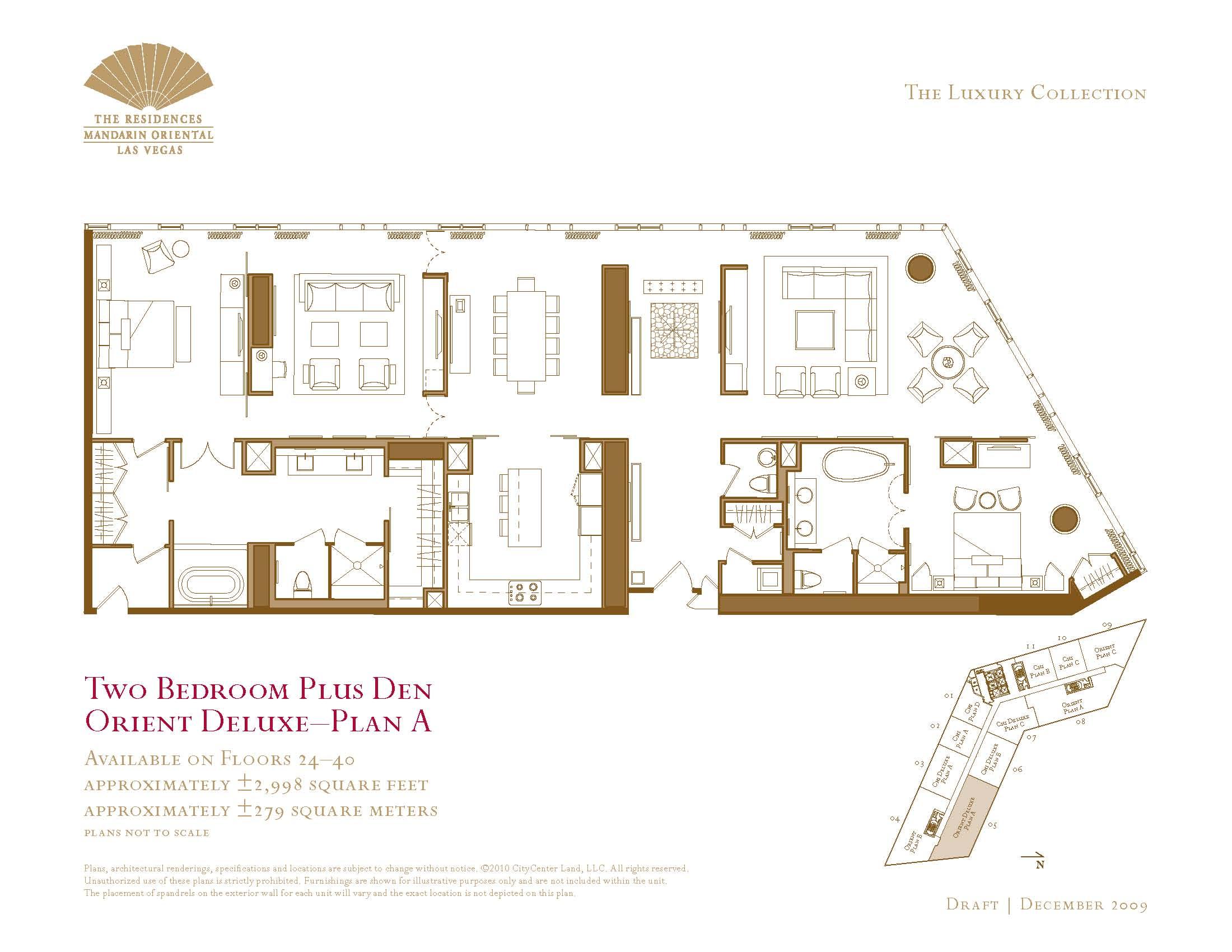 Two bedroom plus den floor plan the mandarin oriental las for Floor plan plus