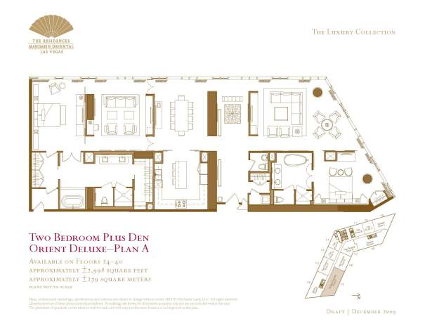 05 Orient Deluxe - Two Bedroom Plus Den Floor Plan A - The Mandarin Oriental Las Vegas