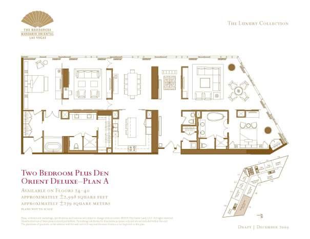 05 Orient Deluxe - Two Bedroom Plus Den Floor Plan A - The Mandarin Oriental Las Vegas