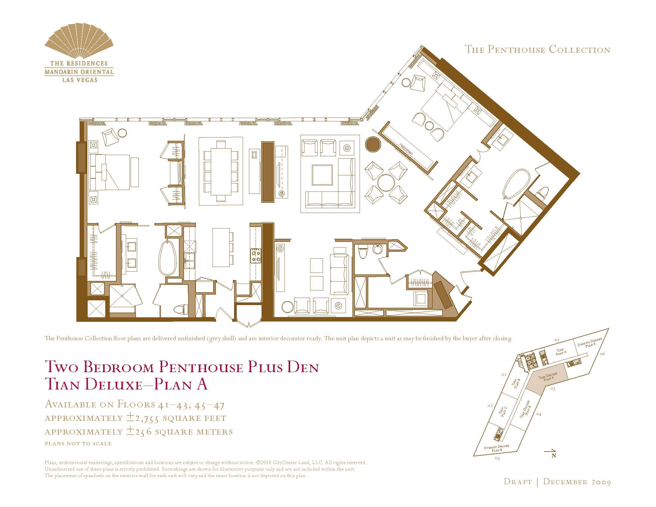 Two bedroom plus den penthouse floor plans the mandarin for Las vegas home floor plans