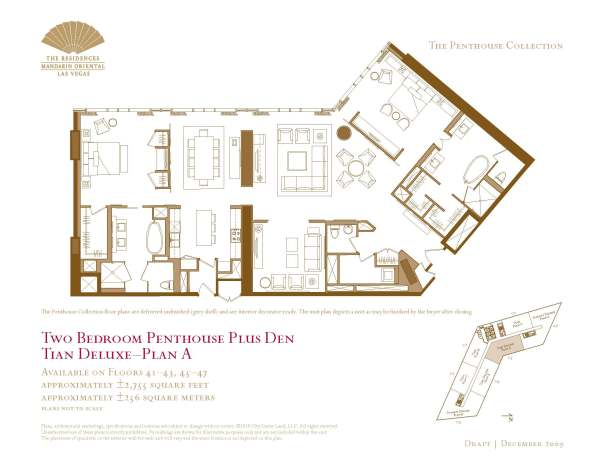 05 Tian Deluxe - Floor Plan A - Two Bedroom Plus Den The Mandarin Oriental Las Vegas Condos for Sale