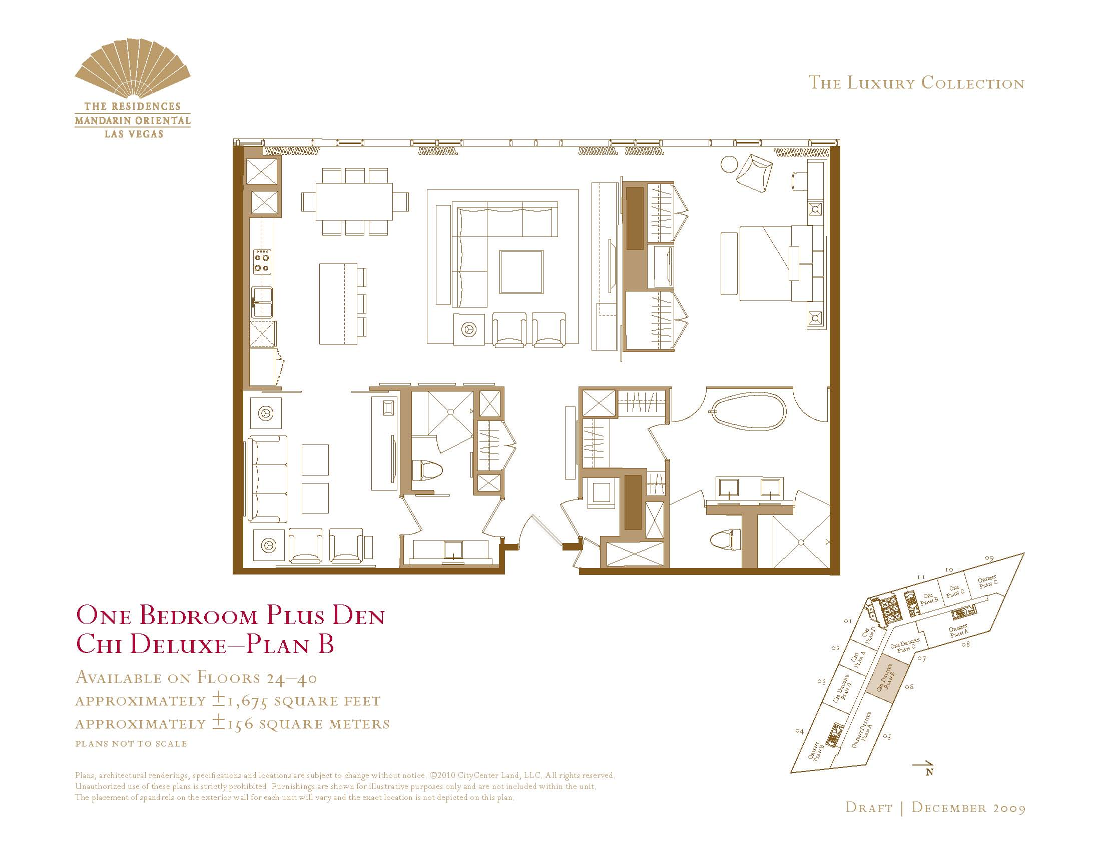One Bedroom Plus Den Floor Plans The Mandarin Oriental Las Vegas - Las vegas floor plans