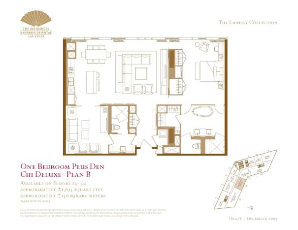 06 Chi Deluxe - Floor Plan B - One Bedroom Plus Den The Mandarin Oriental Las Vegas