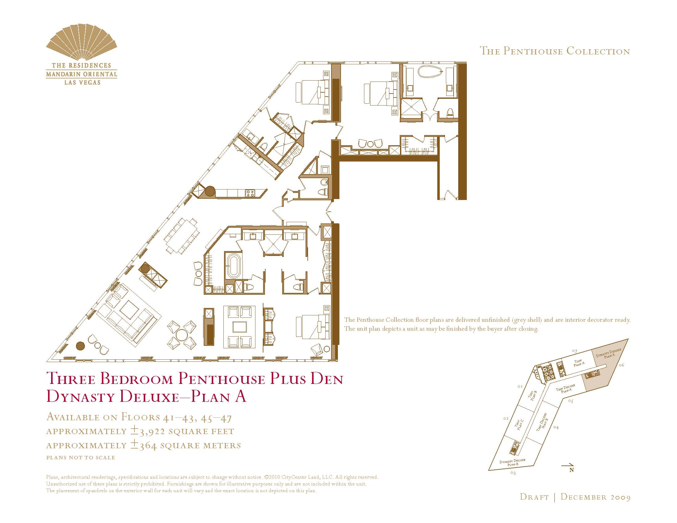 Three Bedroom Penthouse Plus Den Floor Plans The Mandarin Oriental - Las vegas floor plans