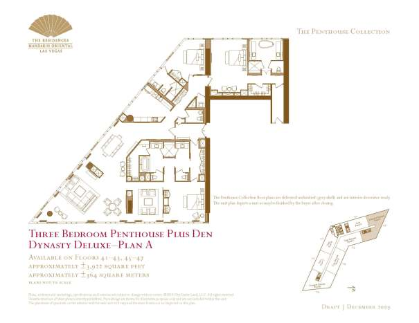 05 Dynasty Deluxe - Plan A - Three Bedroom Penthouse Plus Den The Mandarin Oriental Las Vegas Condos for Sale