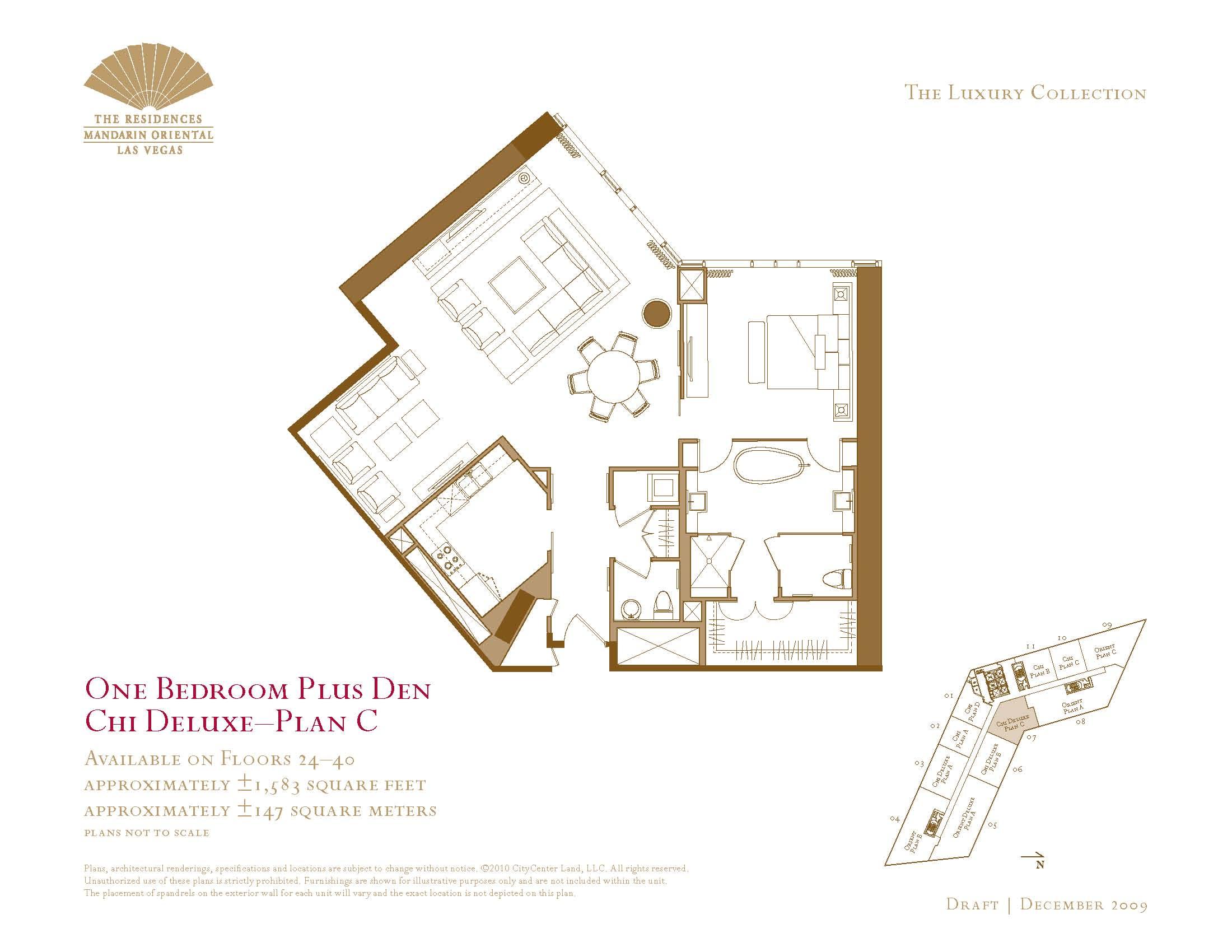 one bedroom with den. 07 Chi Deluxe  Floor Plan C One Bedroom Plus Den The Mandarin Oriental Las Plans Vegas