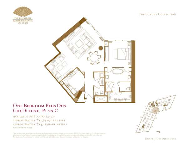 07 Chi Deluxe - Floor Plan C - One Bedroom Plus Den The Mandarin Oriental Las Vegas