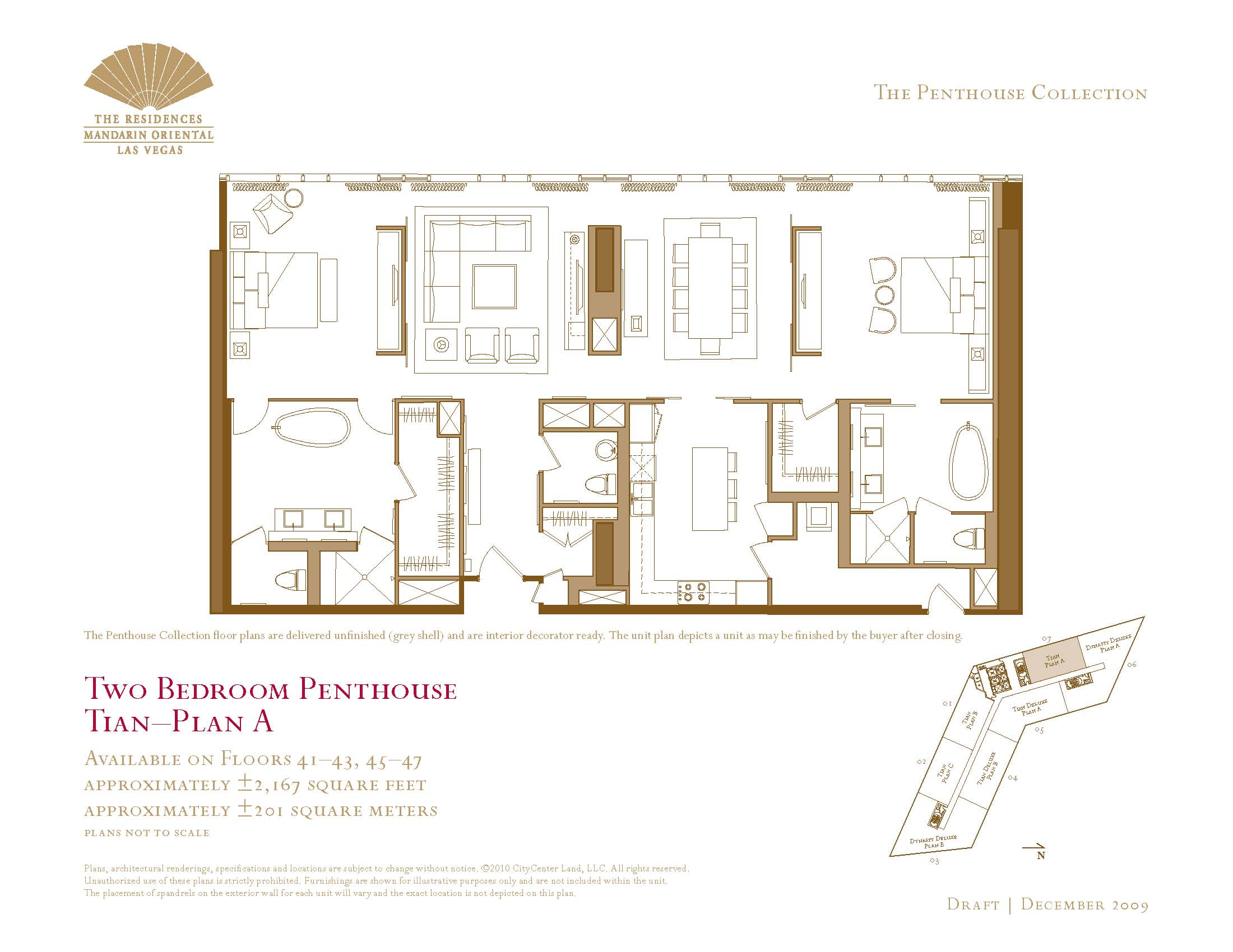Two bedroom penthouse floor plans the mandarin oriental for Las vegas home floor plans