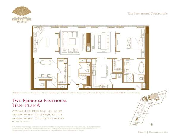 07 Tian - Floor Plan A - Two Bedroom Penthouse The Mandarin Oriental Las Vegas Condos for Sale