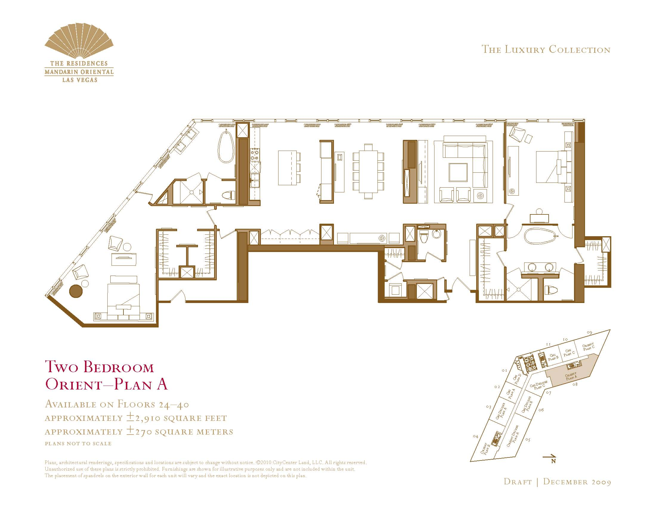 Two bedroom floor plans the mandarin oriental las vegas for Floor plans with photos