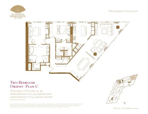 Two Bedroom Floor Plan - C - The Mandarin Oriental Las Vegas