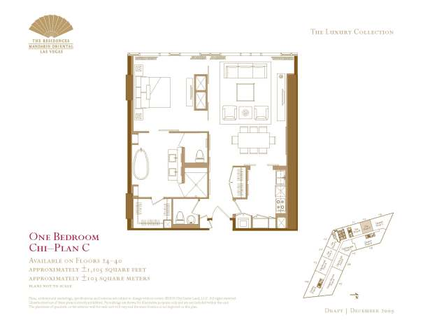 One Bedroom Floor Plan The Mandarin Oriental Las Vegas condos for sale